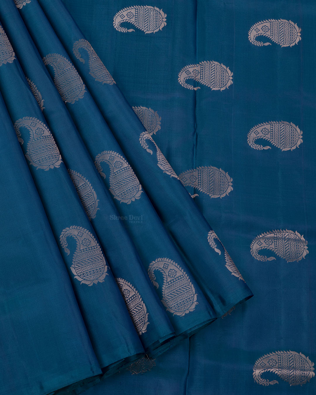 Peacock Blue Elite Motif Kancheevarams Silk Saree with Mango Zari Motifs