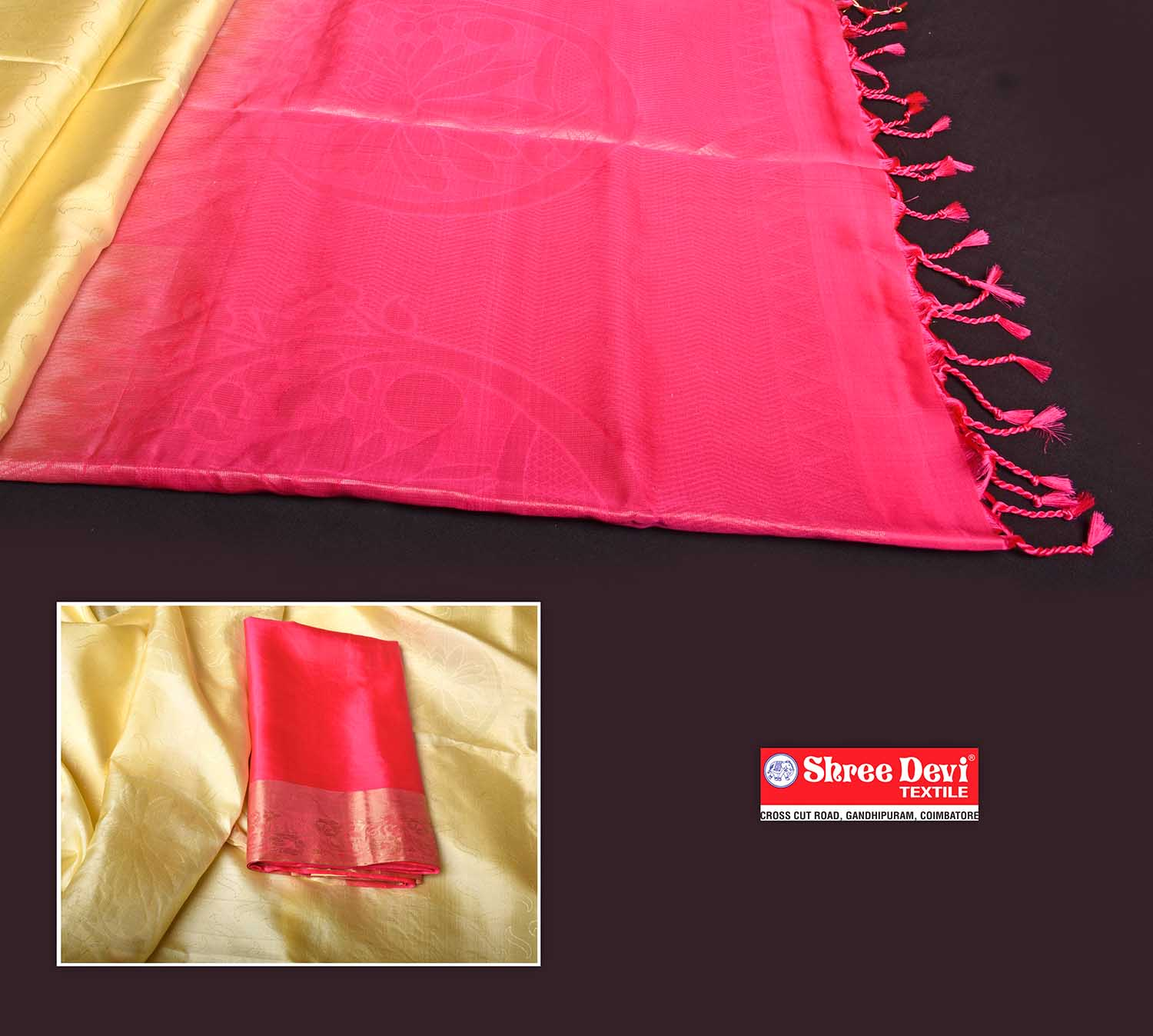 Lemon Yellow Shade Self Embossed Soft Silk Saree