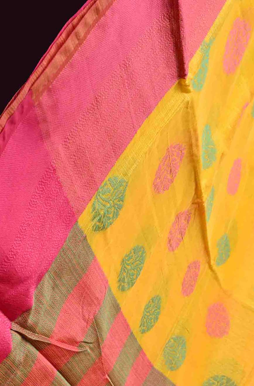 Yellow with Green and Pink Manipuri Cotton Saree