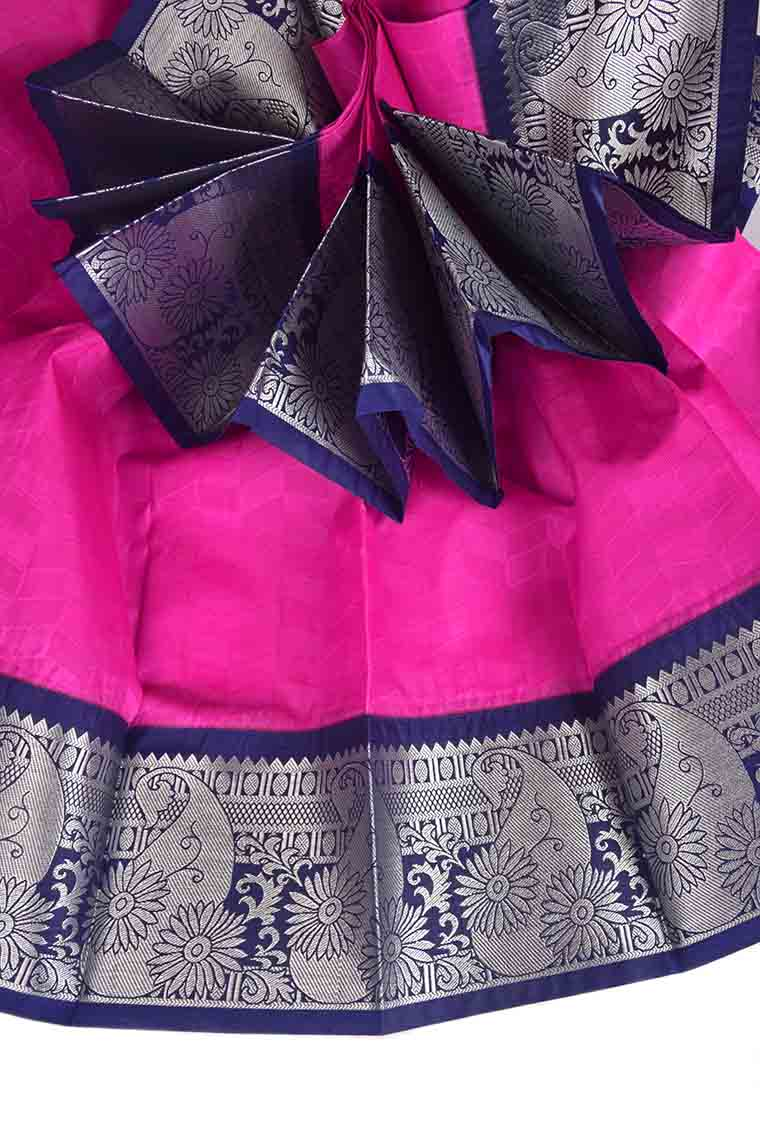 Hot Pink and Midnight Blue Thirubhuvanam Handloom Visiri Madippu Silk Saree