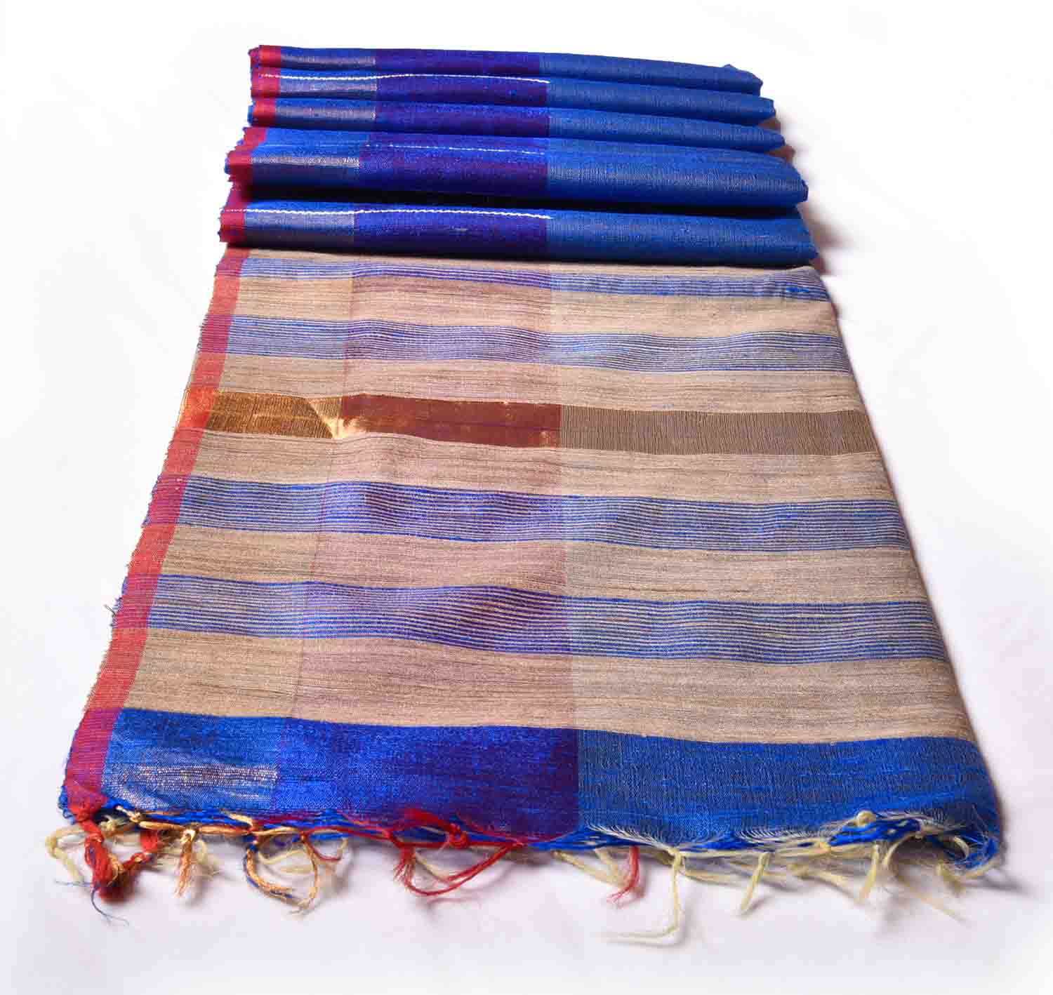Persian Blue With Brown Soft Silk Saree