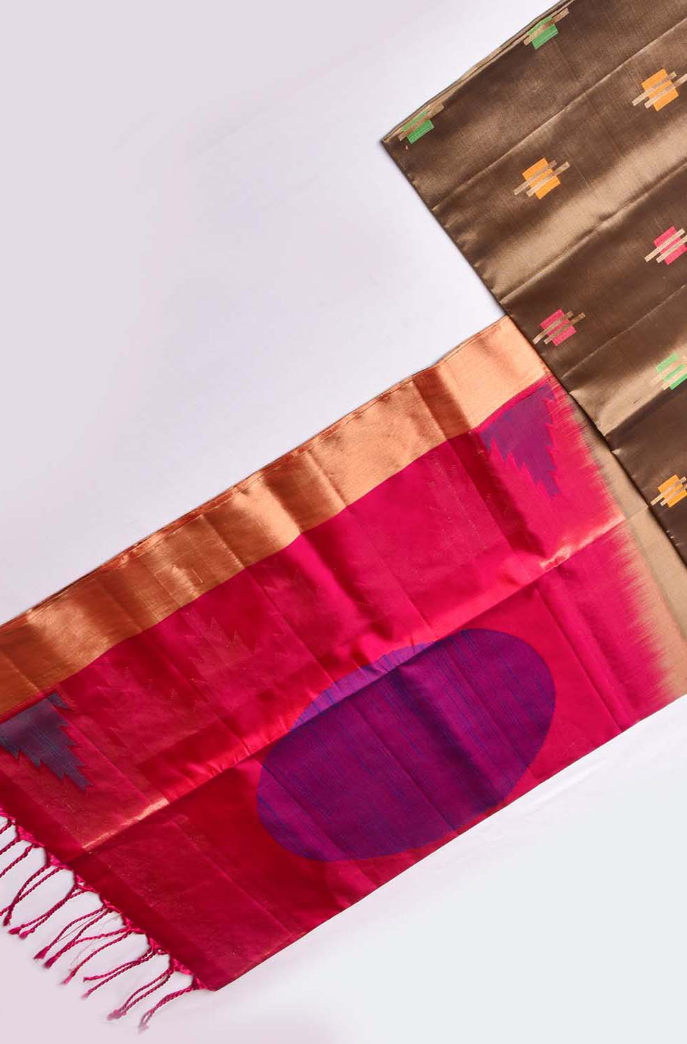 Brown with Blue Shaded Pink Soft Silk Saree
