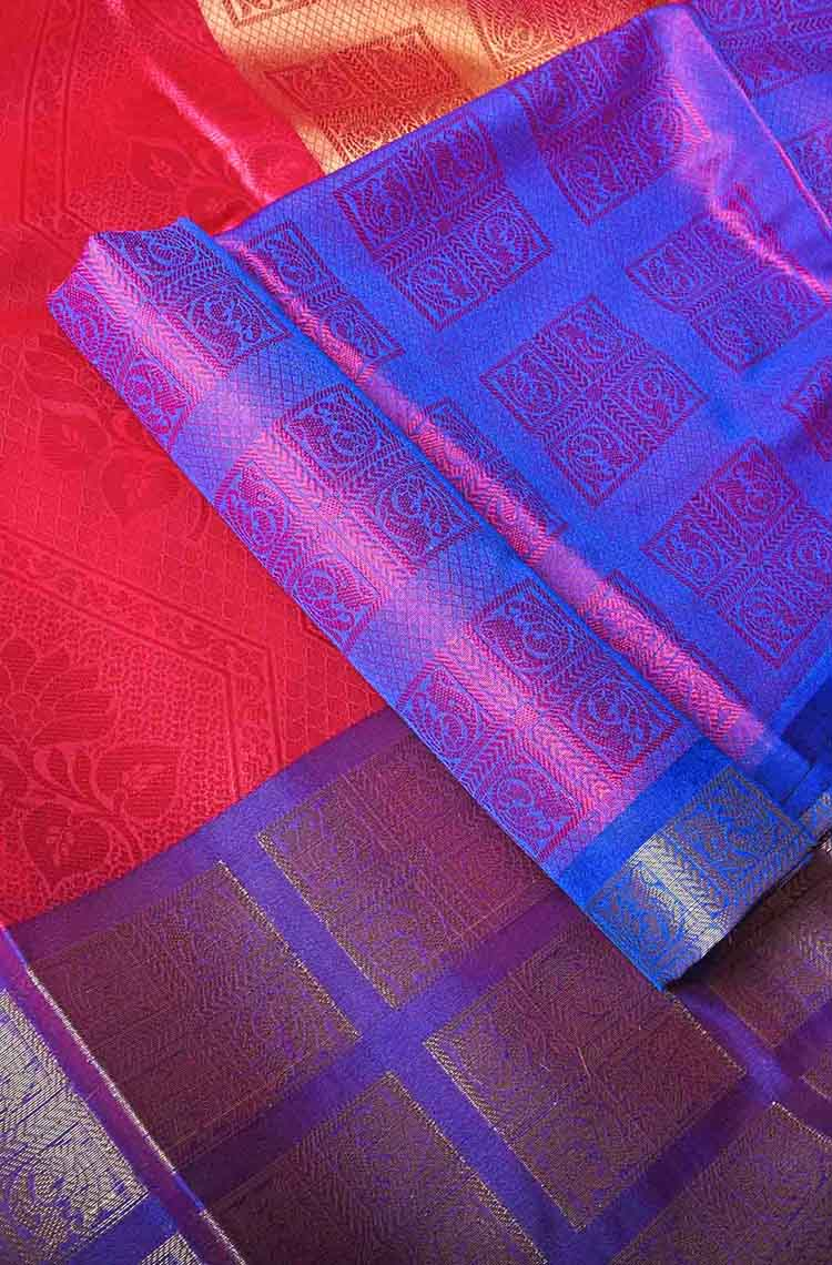 Rose with Voilet Self Embossed Organza Saree