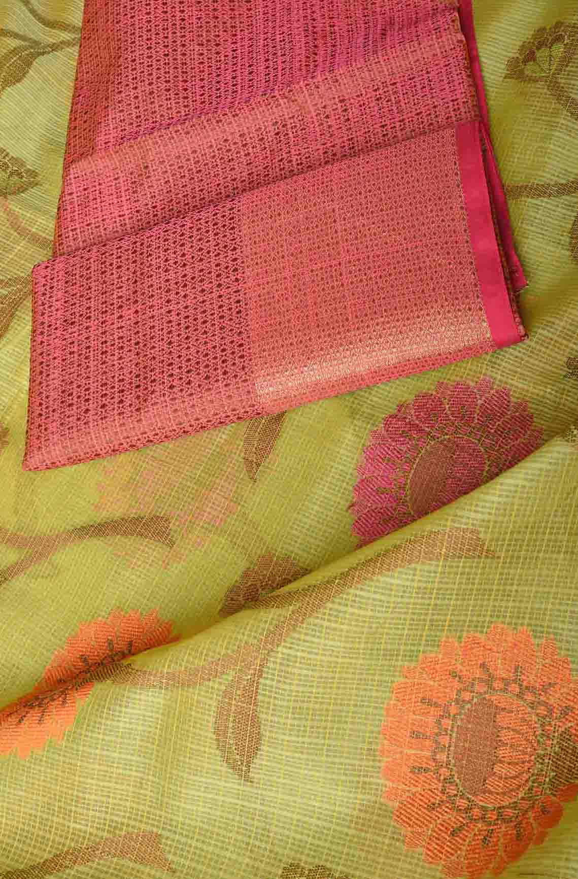 Green with Orange and Pink Floral Manipuri Cotton Saree
