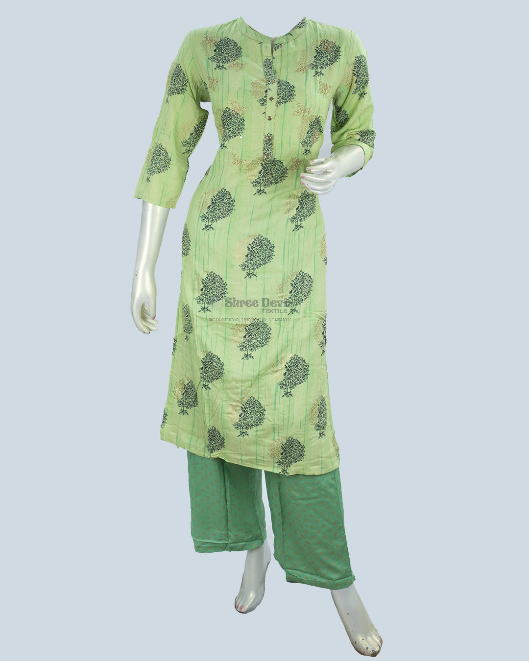 Green Combination Top and Palazzo Set