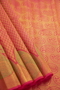 Ruby pink and Green Combination Kanchivaram Pure Silk Saree