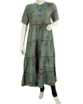 Green Gray Collar Anarkali Kurti