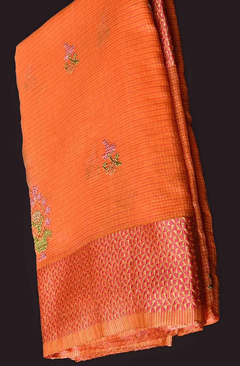 Orange with Border Multi Colour Manipuri Cotton Saree