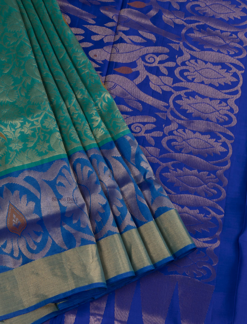 Teal Blue Pure Soft Silk Saree with Peacock and Golden Brocade Design