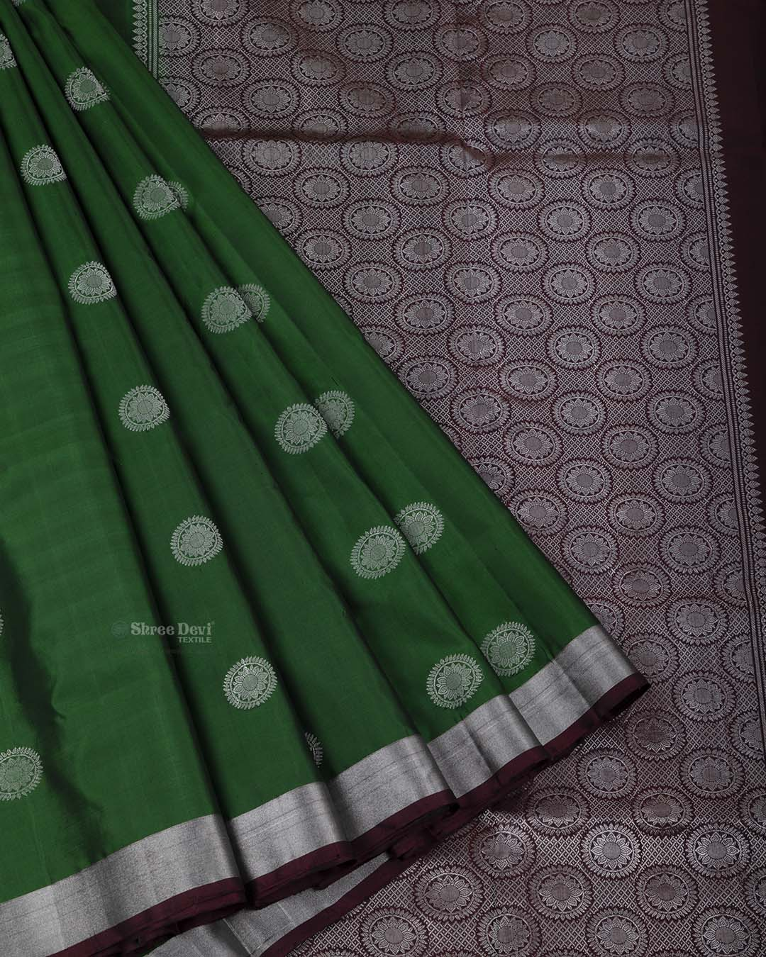 Dark Forest Green Elite Motif Kancheevarams Silk Saree with Silver Floral Zari Motifs