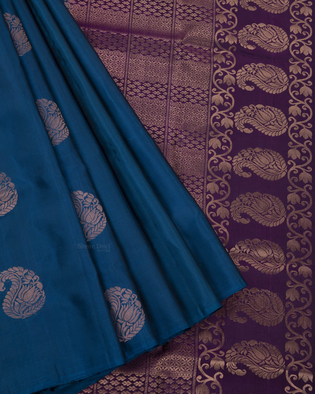 Prussian Blue Elite Motif Kancheevarams Silk Saree with Mango Zari Motifs
